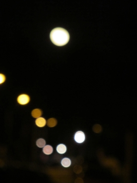 ciel,lune,ville,lumières,nuit
