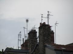 ville,urbain,rue,toit,cheminée,antenne