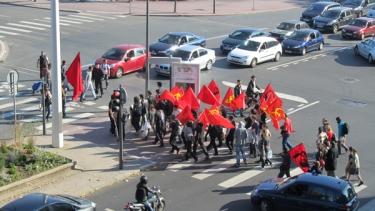 révolution, manifestation,drapeau rouge,PCF,ville urbain