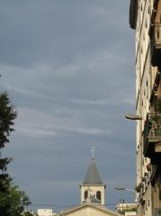 ville,urbain,rue,clocher,église,nuages