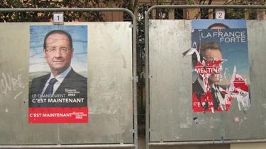 élection,élection présidentielle 2012,françois hollande,sarkozy,affiche électorale,lacération,affiches lacérées,campagne électorale,politique